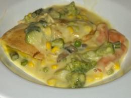 Veggie Pot Pie with corn, green beans, peas, carrots, mushrooms and broccoli