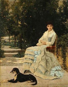 Lady in the garden with her dog by Lakovos Rizos (1849-1926)