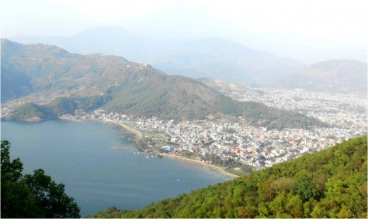 Pokhara City and Fewa lake view From Word Peace Pagoda