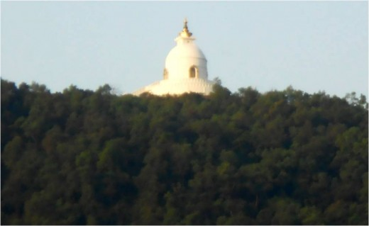 World Peace Pagoda, view from Fewa Lake