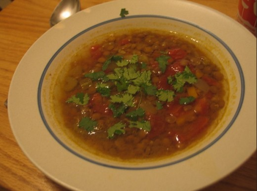 Moroccan lentil soup--recipe is here: http://minecreations.blogspot.com/2007/10/fall-cooking.html