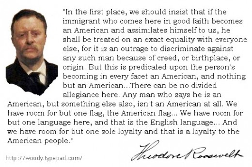 What is an American? Quote by Theodore Roosevelt.