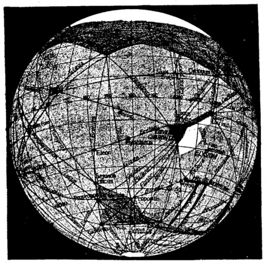 Lowell's 1911 drawing of the canals on Mars.