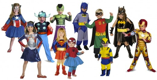 L to R: Captain America Dream Girl, Optimus Prime Girl, Thor Toddler Muscle Chest, Hulk Muscle Suit Toddler, DC Supergirl, Marvel Spider-Girl Kutie, Batman Jumpsuit, Teen Titans Robin, Marvel Wolverine, Batgirl, and Iron Man 3 Mark 42 Toddler Costume