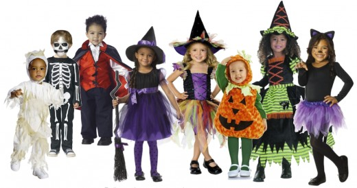 L to R: I Luv Mummy Toddler Jumpsuit Set, Scary Skeleton Jumpsuit, Toddler Vampire Costume, Charmed Witch Purple Costume, Glitter Witch, Underwraps Pumpkin Belly, Disguise Story Book Witch, and Black Cat Ballerina. Click Source Link Below to Purchase