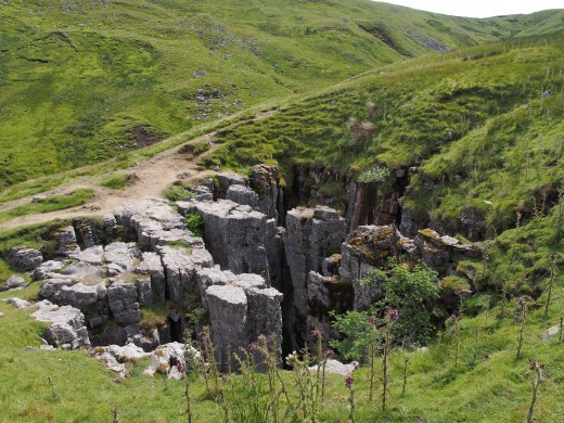 High on the road between Swaledale and Wensleydale are the Buttertubs, deep clefts that contain tall hexagonal columns of basalt that resemble the old farmers' butter tubs. Warning, ground may give away close to the drop - see sheep carcases below