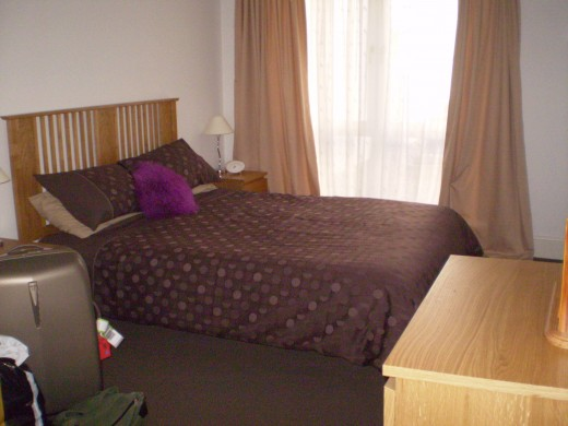 main bedroom of a self contained unit in Inverness
