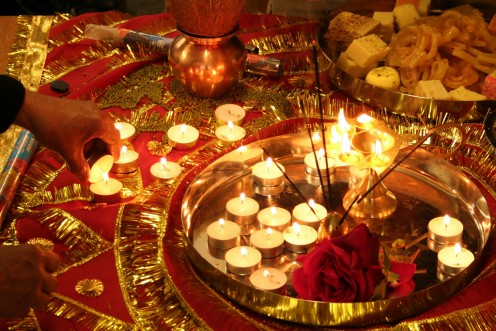 Defeat of evil is celebrated symbolically with sweets and light