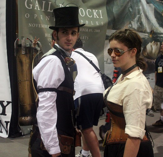 A Couple Wearing Steampunk Outfits
