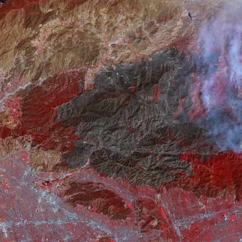 Satellite photo of wildfires in the hills of Los Angeles County.