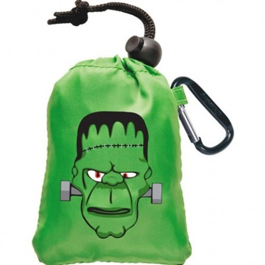 Frankenstein monster stuffed back into his attached pocket, all tied up till next Halloween
