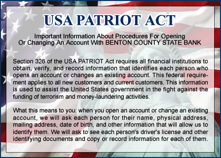 Here is what the Patriot Act caused some of our banks to do.