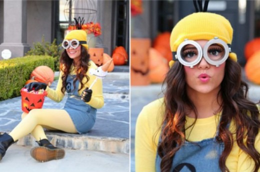 Bethany Mota wearing her own Minion costume creation.