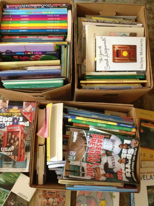 This is a picture of a donation of books the Sama Tata Foundation received about a year and a half ago.  The books were given to two schools in the Dakar-area in need of such materials.