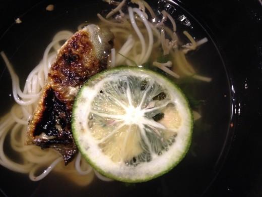 Soup~ Ayu somen, Junsai Yuba (soy milk paper), Tat soi, Yuzu kosho pepper, Lime.