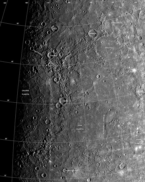 The cratered surface of Mercury.  The reason that it is so cratered is due to its lack of atmosphere.  The atmosphere on Mercury is thin and unstable, offering little protection.