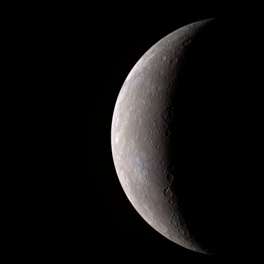 Mercury sickle.  The planet has a very eccentric orbit when compared with the others in the Solar System.  When closest, the planet is only 29 million miles (46 million km) from the Sun, but at its farthest it is 43 million miles (70 million km) away