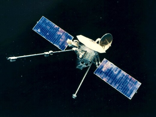 Mariner 10, the first space probe to visit Mercury.  Launched on November 3, 1973, the spacecraft madeMercury flybys, on March 29, 1974, September 21, 1974, and March 16, 1975, taking stunning and revealing photographs on each occasion.
