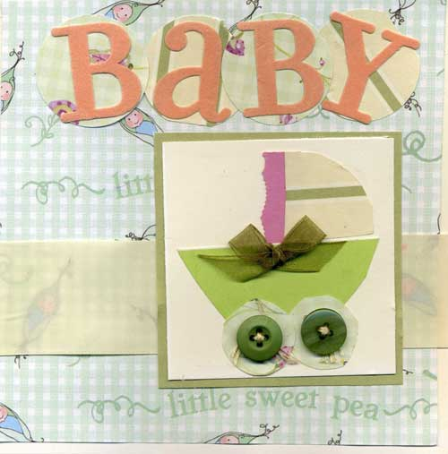 A New Baby Card with Baby Carriage