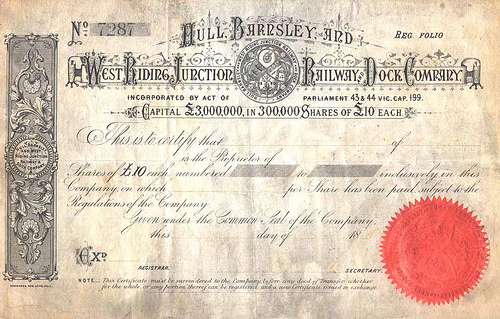 Hull & Barnsley Railway share certificate - the company was absorbed by the North Eastern Railway a year before it in turn became part of the London & North Eastern Railway (LNER)