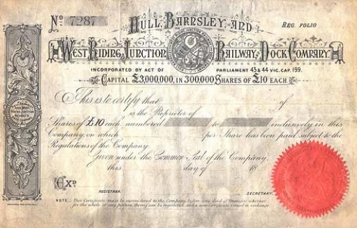 Hull & Barnsley Railway share certificate