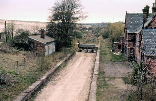 Little Weighton Station after track lifting, 1976 - image: A Young