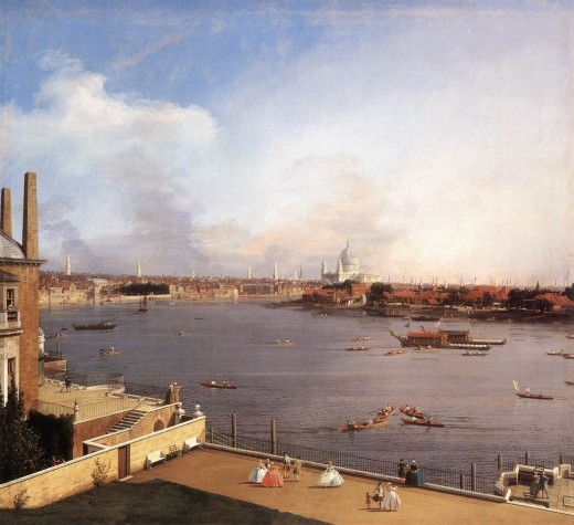 The Thames and the City of London from Richmond House (1747) by Canaletto