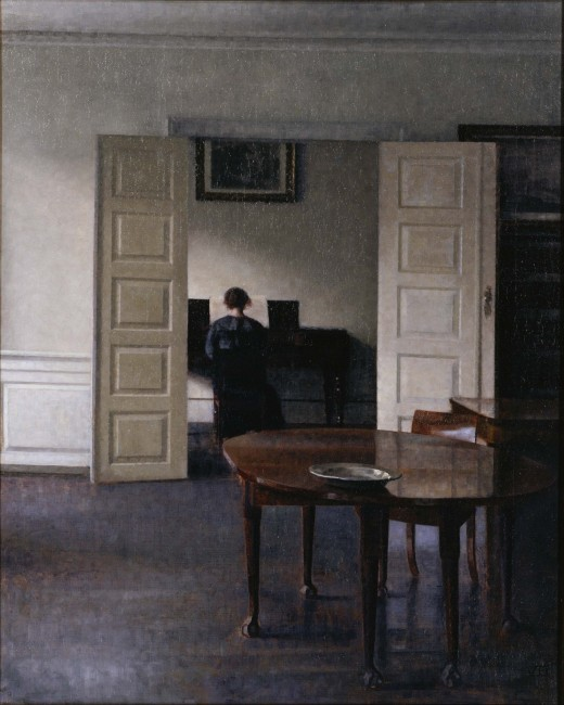 Interior with Ida Playing the Piano by Vilhelm Hammershøi