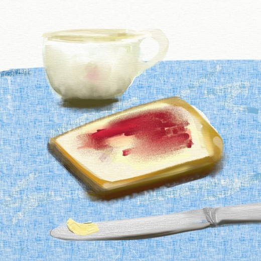 Lay down some thick paint, grab a palette knife and spread it across the canvas, at the breakfast table. Just don't dip your stylus brush in your cup of tea!