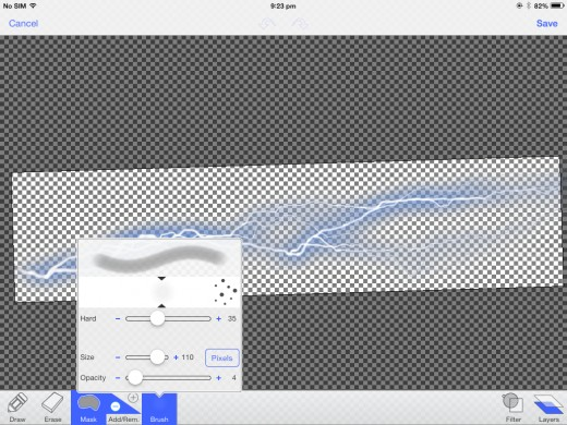 Making the image semitransparent. Save and place in comic.