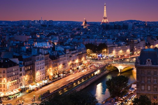 Twinkling Paris at dusk.