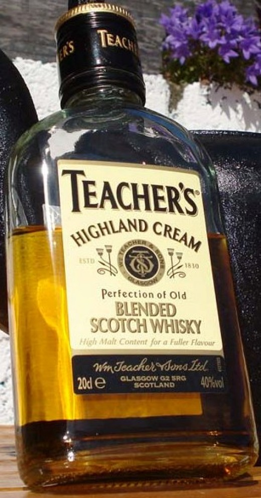 """A bottle of Teacher's Highland Cream.  William Teacher began selling his whisky not long after the """"Excise Act"""" came into being in 1830.  Almost half this scotch consists of malt, with Ardmore being the one present in the largest amount."""