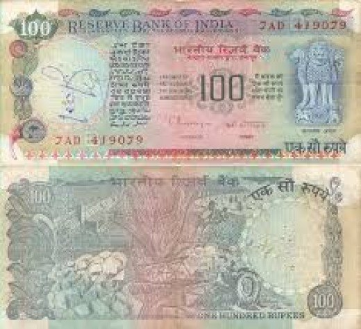An old hundred rupee note of our times.