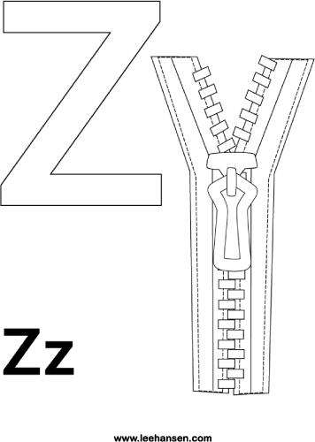 Letter Z Zipper Coloring Sheet