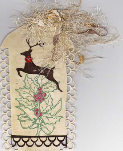 Stamped and Decorated Tag with Holly and Reindeer