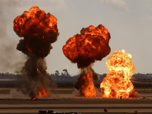 Bombs exploding. Modern warfare often takes place at a distance, with military forces rarely coming into direct physical contact.  The recent introduction of drones has only increased the sense of physical and emotional distance.