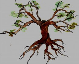 This painting was created to symbolize letting go for a child during divorce.  The branches are splitting apart but the trunk remains intact.  Sometimes a picture or other image can serve as a powerful mantra without the need for word to describe it