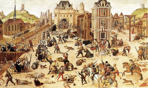 St. Bartholomew's Day Massacre when the Catholics party slaughterd almost 100,000 Huguenots across France