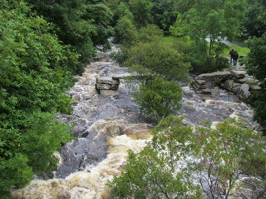 Taken from the Dartmeet Bridge, you can see the ancient Clapper Bridge where two tributaries of the River Dart meet.
