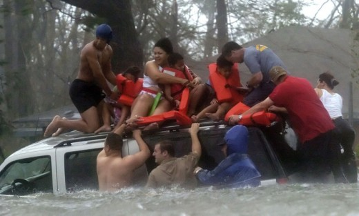 Rescuing a family from flood