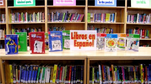 A collection of books in Spanish in a library.