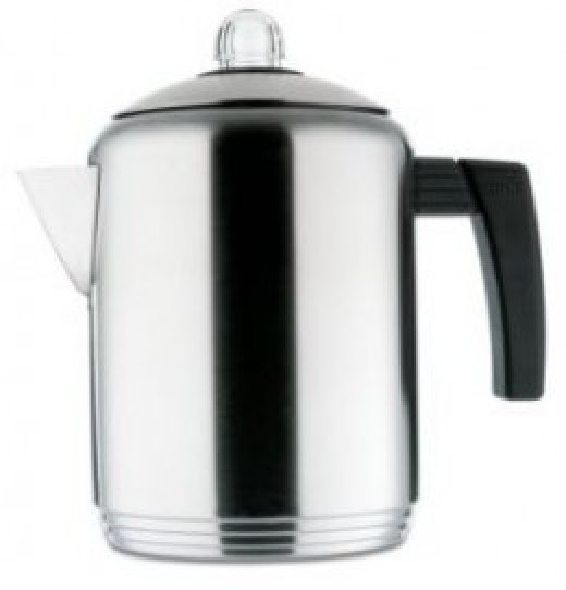 The Copco Brushed 4 to 8-Cup has an attractive stainless steel finish, which also makes it easy to clean, as well as durable.  Its handle is comfortable to hold and the spout does not dribble or drip.
