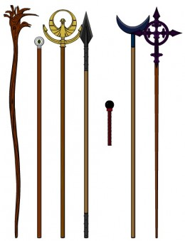The Staffs of the Elders(from right to left):  Gem's Staff, Spec's Staff, Ben's Staff, Bell's Staff, Fir's Wand, Fid's Staff, and Reg's Staff
