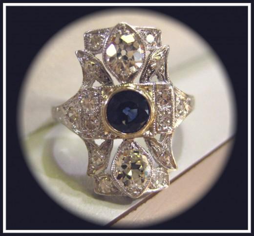 Antique Art Deco Diamond Sapphire Ring