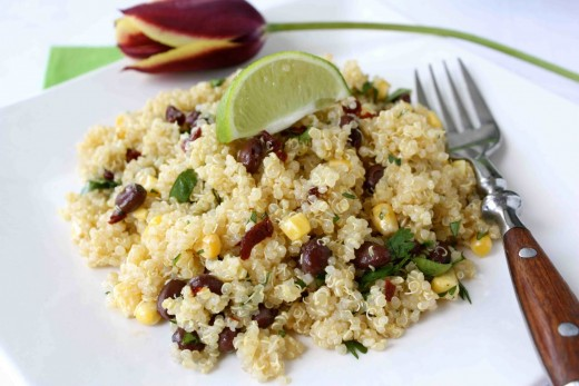 Quinoa with black beans and corn.