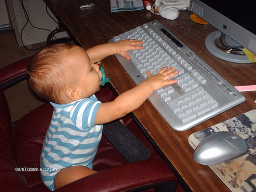 Toddler at the Computer Keyboard