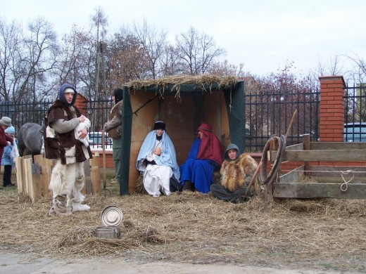 Live Nativity scene at St. Wojciech church, Wyszków, Poland - Photo by Ejdzej