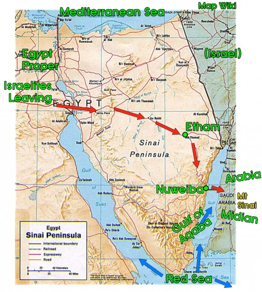 The Exodus across the Sinai Peninsula. From Egypt to Succoth to Wilderness of the Red Sea to Red Sea to Midian (Arabia). Notice Red Sea all around the Peninsula. Map is in public domain.