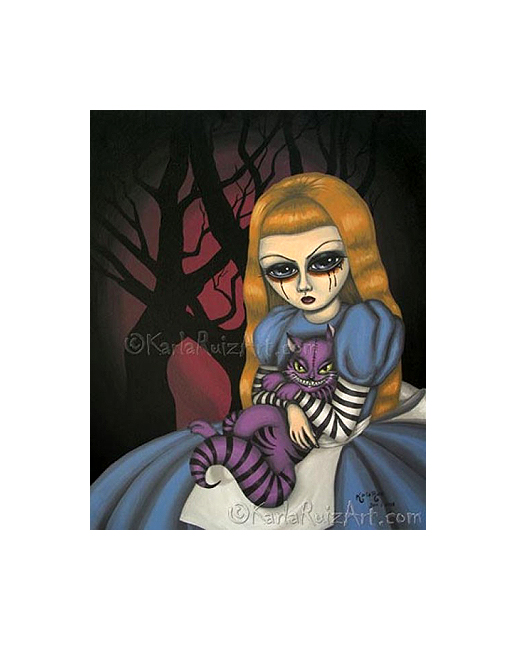 """""""Portrait of Alice and the Cheshire Cat"""" by Karla Ruiz"""