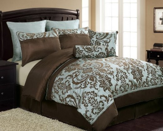 Brown And Light Blue Bedding